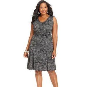 JONES NY Textured Tweed Sleeveless Belted Dress A3